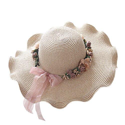 Butterme Frauen Blumen Girlande Stroh Sun Hut, Damen breiter großer Brim Sonnenblende Hut, Mädchen wellenförmiger Art Sommer Strand schlaffe Sun Hut Kappe (Beige)