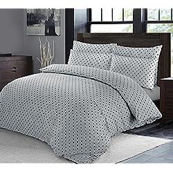 Juego de cama con edredón nórdico con tejido de lujo de extremo a extremo y fundas de almohada con diseño de lunares, Grey with Black Dots, matrimonio