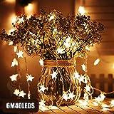 Star Fair Lights, Zorara 40 piezas LED Star Night Christmas String Lights 20Ft / 6M Luz blanca cálida Decoración Luces de hadas para interiores para cumpleaños o fiestas