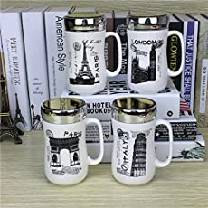 Satyam Kraft Designer Ceramic Coffee Mugs with Mirror Lid -1Pcs 400ml (Random Design)