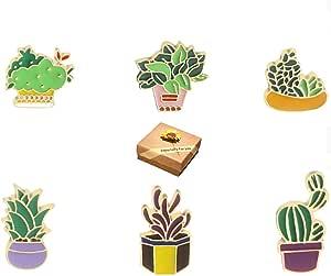 Spilla,6 Pezzi Set di Spilla Pins Pianta Verde succulento Cactus Fiore di Aloe Piante spilletta,Cartone Animato Spilla per Abito Maglione Camicia,Gioielli Regali con Una Bella Confezione Regalo
