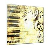 Memoboard 40 x 40 cm, Interieur - Musik Grunge - Glasboard Glastafel Magnettafel Memotafel Pinnwand Schreibtafel - Retro - Vintage - Noten - Lied - Notenschlüssel - Klavier - Wohnzimmer - Schlafzimmer - Küche - Bild auf Glas - Glasbild - Handmade - Design - Art
