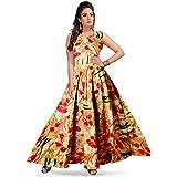 jwf Women's Rayon Digital Printed Long Anarkali Gown (DRS_4302, Multicolour)