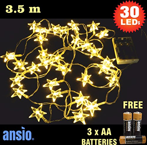 ANSIO 30 Warm White Clear Star Indoor Fairy Lights LED String Lights - Battery Operated - Ideal for Christmas, Festive, Wedding/Birthday Party Decorations - Total 3.5m Clear Cable - Batteries Included