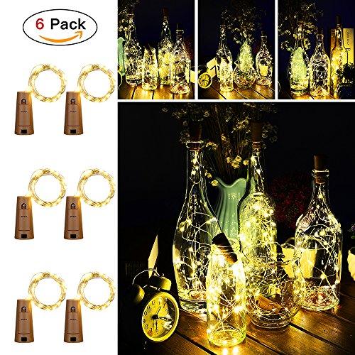 2m 20er LED Flaschenlicht Korken,Mini Lichterkette mit Batterie,Flaschenlichter mit Einem Mini-Schraubenzieher,Beleuchtung Deko für Weihnachten/Schlafzimmer/Party/Hochzeit (6-Stück, Warmweiß)