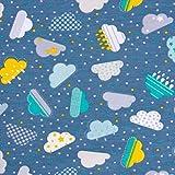 SCHÖNER LEBEN. Baumwolljersey Jersey Baumwolle Wolken Fun Clouds blau gelb türkis 1,50m Breite