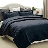 Quilted Bedspreads Set Navy King Size - Diamond Pattern Hypoallergenic Lightweight Coverlets Set with 2 Pillow Shams - Luxury Modern Style Microfiber Bedspreads 240x260cm by Bedsure