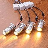 Midore 4 stk Mini LED Einbaustrahler Minispot Einbauleuchte Aluminium Warmweiß mit Transformer Silber Kleiderschrank Beleuchtung Displayleuchte zur Perfekten Warenpräsentation (Silber Weiß)