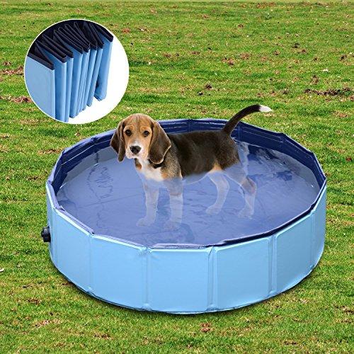 Piscina para Perros Natacion Mascotas Gato Cachorro Plegable Diametro 80cm