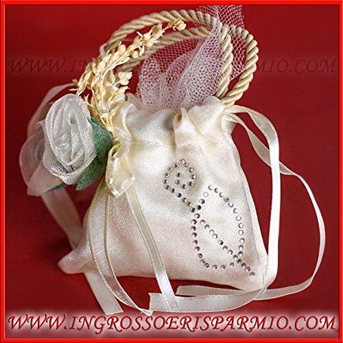 24 sacchettini completi di 5 confetti simbolo cresima confettata a borsetta con fiori e strass