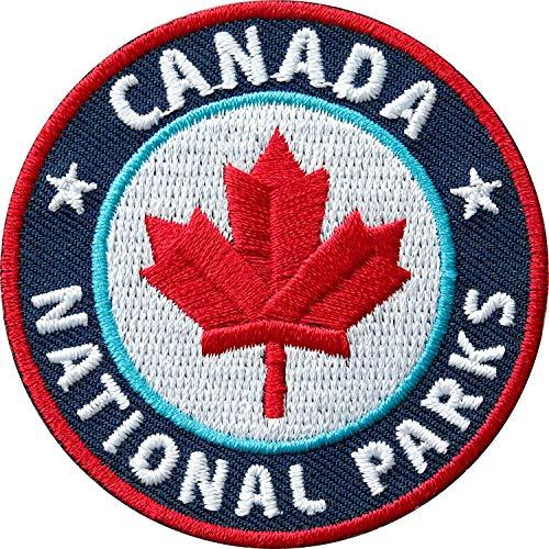 2 x Stick Abzeichen 60 mm / Canada National-Parks / Kanada Ahorn Outdoor Trekking Reise Camping / gestickte Applikation Aufnäher Aufbügler Flicken Sticker Patches für Kleidung Tasche Rucksack