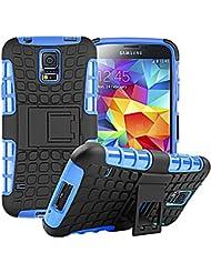 Samsung Galaxy S5/S5Neo nnopbeclik Hybrid 2en 1TPU + PC Carcasa Cover Case Silicona Armadura Armor Dual Layer patrón funda Back Cover giro de 360grados Soporte antigolpes Teléfono Móvil Funda Funda Carcasa Bumper pour Samsung Galaxy S5/S5Neo 5.1pulgadas