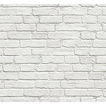 NextWall - Papel de pared vintage blanco autoadhesivo con diseño de ladrillos