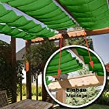 Seilspannmarkise ca. 415x140 cm grünes Sonnensegel Metall Seilspanner