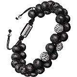Murtoo, bracciale da uomo con perle e pietra con chiusura regolabile, diffusore di profumo