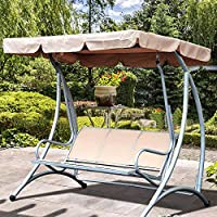 FlowersSea - Toldo de Repuesto para balancín de jardín, Impermeable, Anti Rayos UV, Cubierta Superior para Exterior Patio jardín Hamaca, Caqui