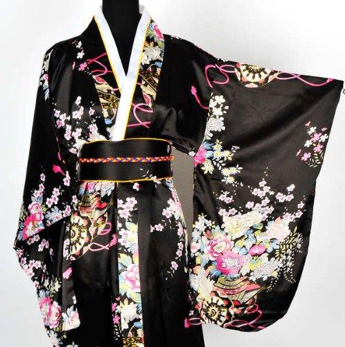Japanisch Kimono Robe Yukata Schlafanzug Schwarz - 4