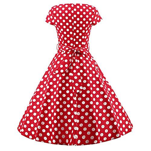 LUOUSE Damen Vintage 1950 50er Cap Sleeves Rockabilly Swing Kleider Abendkleider Cocktailkleid V045-DotRed