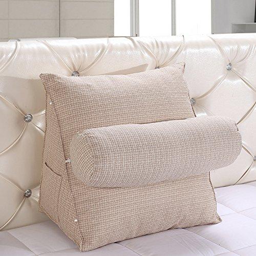Kenmont Bücherkissen-Rückenkissen-Lendenkissen-Fernsehkissen Plüsch Kissen für Auto, Bett, Lesen, Büro-Stuhl und Sofa (Large, Elfenbein)