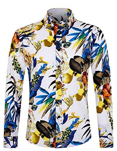 Hawaii Hochzeit Shirts (APTRO Herren Hemd Freizeit Baumwolle Mehrfarbig Langarm Shirt 1036 XXL)