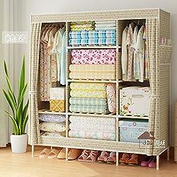 Fácil minimalista armario ropero tela Oxford negrita cofres de madera 1,5D,150 doble abrigos de largo y de 45 a 170 W de alta