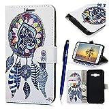 Samsung Galaxy J5 / 2015 Coque, Yokata Flip PU Cuir Case Vintage Kawaii Housse Magnet Étui avec Flexible Soft Doux TPU Silicone Backcover Cover + 1*Stylet