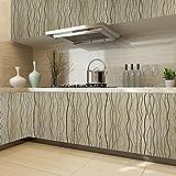 KINLO PVC 0.61 x 5M Wallpaper Sticker etichette autoadesive Cabinet rimovibile Adesivi mobili per Mobili parete della cucina Decorare (Marrone)