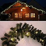 Tannengirlande grün 8,1 m mit 120 LED beleuchtet Weihnachtsbeleuchtung außen von Gartenpirat®