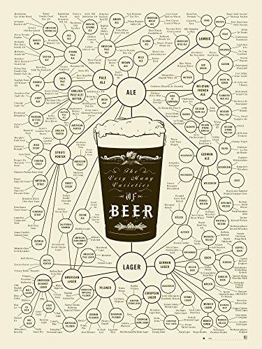 """Le diverse varietà di birra, Poster, 18 X 24 """"), motivo: rappresentazione di 89 Varietà di"""