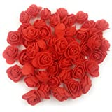 SATYAM KRAFT Foam Artificial Flower Roses for Home Decoration and Craft (50 Piece, 3 cm, Red)