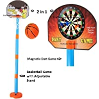 Truvendor Enterprises 2 in1 Basketball Set with Adjustable Stand and Magnetic Dart Game for Kids for Indoor and Outdoor use (Rubber Basketball and 3 Darts Included in The Box) (Multi Colour)