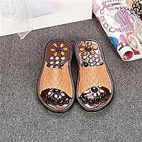 Lady massaggio pantofole naturale ghiaia massaggio piede punto salute Home pantofole, Brown, (Plaid High Heel)
