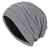 Long Slouch Winter Beanie Mütze - iParaAiluRy Gefüttert Warme Strickmütze für Damen Herren - Feinstrick Strick Beany Mütze in Flechtmuster