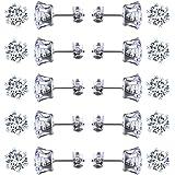 JZZJ 2-4 mm piccolo da donna in acciaio INOX rotondo chiaro zirconi orecchini (10 coppie)(-)