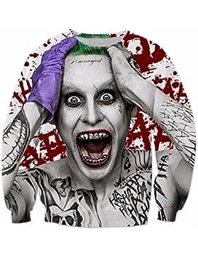 Ldayly Capispalla manica lunga da uomo manica lunga Suicide Squad Joker Stampa 3D Felpa girocollo Casual Pullover