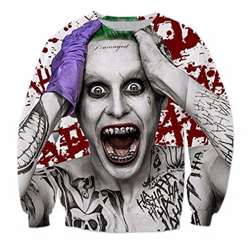 Langarm Oberbekleidung Selbstmord Squad Joker Drucken 3D Sweatshirt Crewneck Casual Pullover 1 XL ()