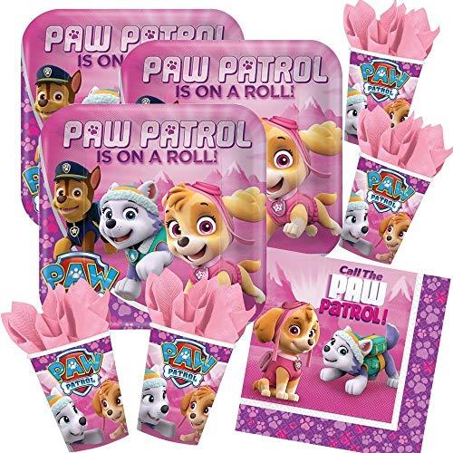52-teiliges Party-Set Paw Patrol Pink - Teller Becher Servietten für 16 Kinder