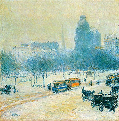 Das Museum Outlet - Winter in Union Square by Hassam - Leinwanddruck Online kaufen (76,2 x 101,6 cm)