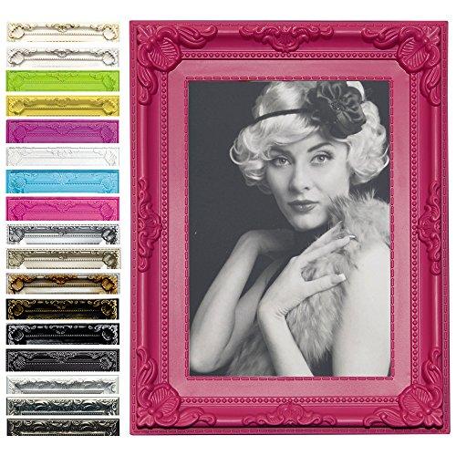 Bilderrahmen Foto Galerie Bild Rahmen Bilder Collage Barock 6 Farben in 5 Größen (Pink, 13X18)