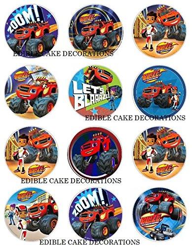24x Tortendekoration aus Esspapier mit Blaze-und-die-Monster-Maschinen-Motiv, für Cupcakes, Kuchen, Geburtstag, Feiern