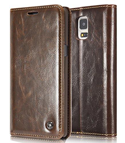 Roreikes Coque Samsung Galaxy S5 / S5 Neo, New Fashion Luxury Crazy Horse Wallet Card en cuir véritable Couvercle du logement de Flip avec support pour Samsung Galaxy S5 / S5 Neo - Brun