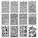 Evneed - 12 modelli di stencil in plastica con lettere, numeri, alfabeto e motivi in stile quotidiano, per fai da te, agenda, accessori per diari, album di ritagli, artigianato, taccuino, 26 x 17,5 cm