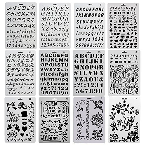 Evneed, Schablonen-Set, 12-teilig,Motiv: Buchstaben, Zahlen, Symbole etc.