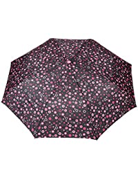 FabSeasons Black/pink, Geometric Printed, 3 Fold Fancy Automatic Umbrella For All Weather
