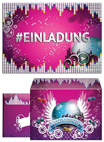 12 Einladungskarten zum Geburtstag oder Party Hashtag incl. 12 Umschläge / #Einladungen / Party oder Geburtstag / Kinder / Erwachsene / Mädchen / Disco-Kugel / Disco-Party (12 Karten + 12 Umschläge)