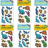 6-teiliges Glitter-Sticker-Set * MEERESTIERE und DINOSAURIER * vom Mauder Verlag | Kinder Aufkleber Kindergeburtstag Geburtstag Mitgebsel Geschenk Glitzer Jungen Dinos Schildkröte Seepferdchen