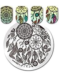 Born Pretty Plaque d'estampage ronde Dream Catcher Feather Manicure Nail Art Plaque d'image BP-131