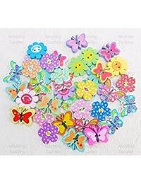 40 botones, diseño de flores y mariposas, para manualidades