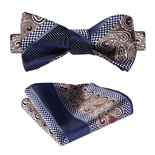 Hisdern Herren Paisley Taschentuch Jacquard Hochzeit Party Selbst Fliege Einstecktuch Set - Paisley Silk Bow Tie