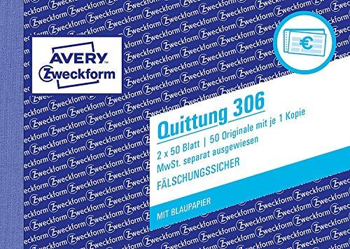 AVERY Zweckform 306 Quittung MwSt. separat ausgewiesen (A6 quer, 1 Blatt Blaupapier, 2x50 Blatt) weiß (10 Stück)